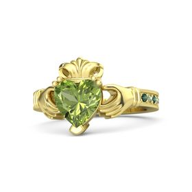 Heart Peridot 14K Yellow Gold Ring with Alexandrite and Peridot