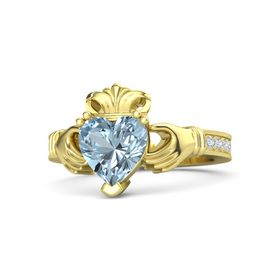 Heart Aquamarine 14K Yellow Gold Ring with Diamond