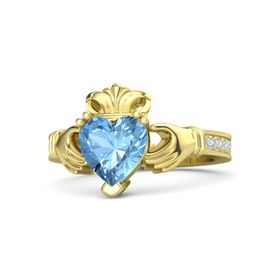 Heart Blue Topaz 14K Yellow Gold Ring with Diamond