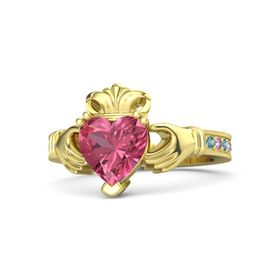 Heart Pink Tourmaline 14K Yellow Gold Ring with London Blue Topaz and Pink Sapphire