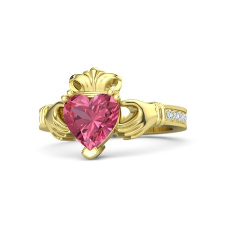 Heart Pink Tourmaline 14K Yellow Gold Ring with Diamond