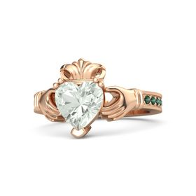 Heart Green Amethyst 18K Rose Gold Ring with Alexandrite