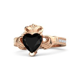Heart Black Onyx 18K Rose Gold Ring with Diamond