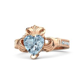 Heart Aquamarine 18K Rose Gold Ring with Aquamarine and Diamond
