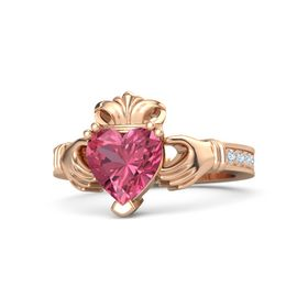 Heart Pink Tourmaline 18K Rose Gold Ring with Diamond