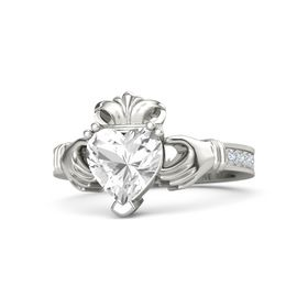 Heart Rock Crystal 18K White Gold Ring with Diamond