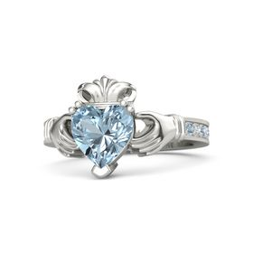 Heart Aquamarine 18K White Gold Ring with Blue Topaz and Diamond