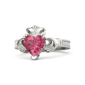 Heart Pink Tourmaline 18K White Gold Ring with Diamond and White Sapphire