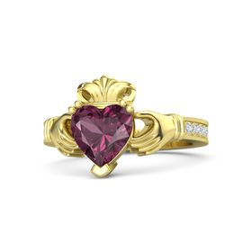 Heart Rhodolite Garnet 18K Yellow Gold Ring with Diamond