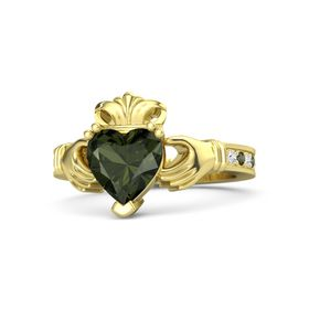 Heart Green Tourmaline 18K Yellow Gold Ring with White Sapphire and Green Tourmaline