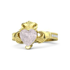 Heart Rose Quartz 18K Yellow Gold Ring with Diamond
