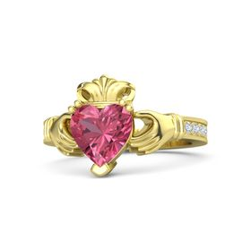 Heart Pink Tourmaline 18K Yellow Gold Ring with Diamond