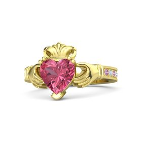 Heart Pink Tourmaline 18K Yellow Gold Ring with Pink Tourmaline & Diamond