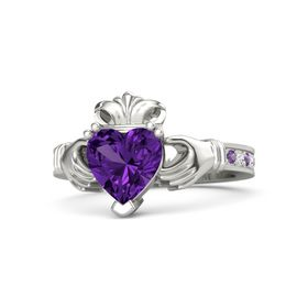 Heart Amethyst Palladium Ring with Amethyst & White Sapphire
