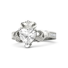 Heart Rock Crystal Palladium Ring with White Sapphire and Diamond