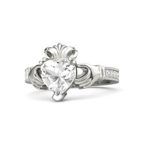 Heart Rock Crystal Palladium Ring with White Sapphire