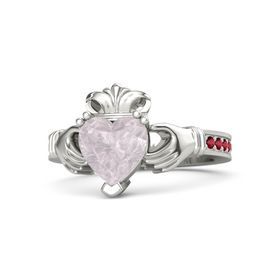 Heart Rose Quartz Palladium Ring with Ruby