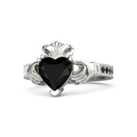 Heart Black Onyx Palladium Ring with Black Diamond