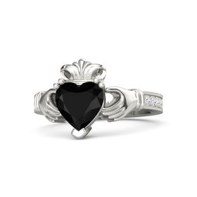 Heart Black Onyx Palladium Ring with White Sapphire
