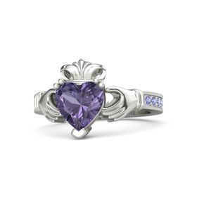 Heart Iolite Palladium Ring with Iolite