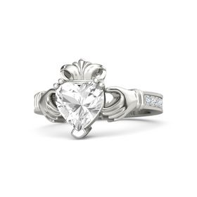 Heart Rock Crystal Platinum Ring with Diamond and White Sapphire