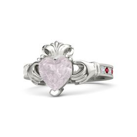 Heart Rose Quartz Platinum Ring with Diamond and Ruby