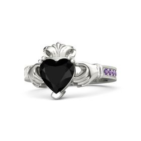 Heart Black Onyx Platinum Ring with Amethyst