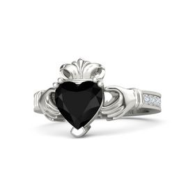 Heart Black Onyx Platinum Ring with Diamond