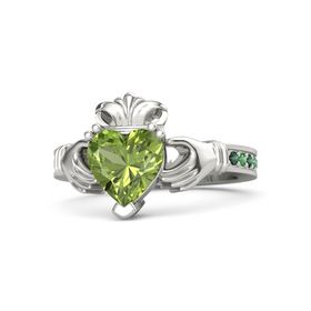 Heart Peridot Platinum Ring with Alexandrite and Emerald