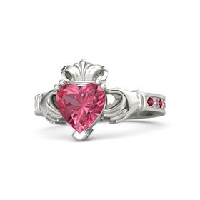 Heart Pink Tourmaline Platinum Ring with Ruby & Pink Sapphire