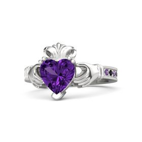 Heart Amethyst Sterling Silver Ring with Amethyst and Black Diamond