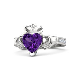 Heart Amethyst Sterling Silver Ring with Diamond