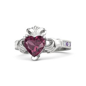Heart Rhodolite Garnet Sterling Silver Ring with Diamond & Amethyst