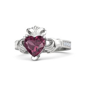 Heart Rhodolite Garnet Sterling Silver Ring with Diamond