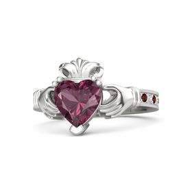Heart Rhodolite Garnet Sterling Silver Ring with Red Garnet & Diamond