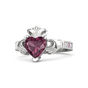 Heart Rhodolite Garnet Sterling Silver Ring with White Sapphire & Pink Sapphire