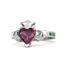Heart Rhodolite Garnet Sterling Silver Ring with Alexandrite and Emerald