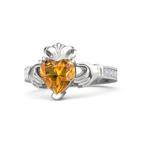 Heart Citrine Sterling Silver Ring with Diamond