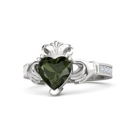 Heart Green Tourmaline Sterling Silver Ring with Diamond