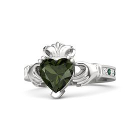 Heart Green Tourmaline Sterling Silver Ring with White Sapphire & Alexandrite
