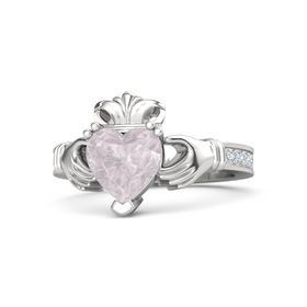 Heart Rose Quartz Sterling Silver Ring with Diamond
