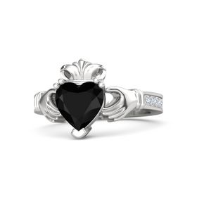 Heart Black Onyx Sterling Silver Ring with Diamond