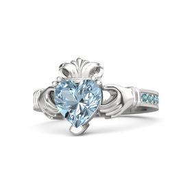 Heart Aquamarine Sterling Silver Ring with London Blue Topaz