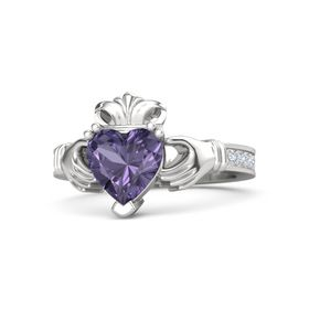 Heart Iolite Sterling Silver Ring with Diamond
