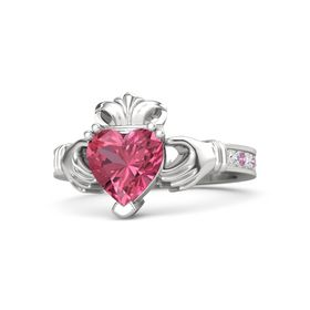 Heart Pink Tourmaline Sterling Silver Ring with White Sapphire & Pink Tourmaline
