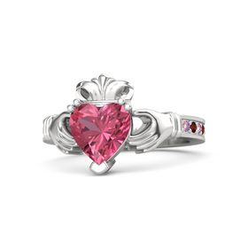 Heart Pink Tourmaline Sterling Silver Ring with Pink Sapphire and Red Garnet