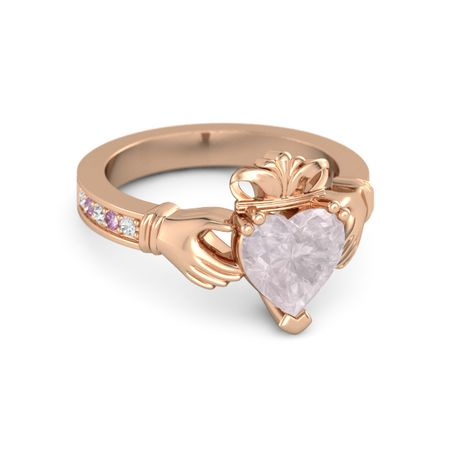 Heart Rose Quartz 14K Rose Gold Ring with White Sapphire & Pink