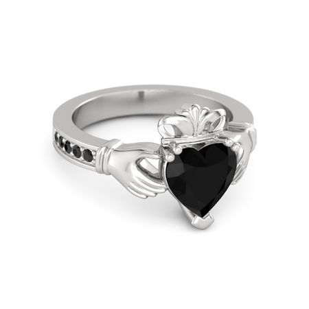 heart black onyx sterling silver ring with black diamond. Black Bedroom Furniture Sets. Home Design Ideas