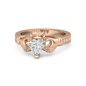 Heart White Sapphire 14K Rose Gold Ring with Diamond