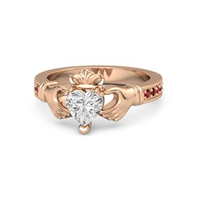 Heart White Sapphire 14K Rose Gold Ring with Ruby and Red Garnet